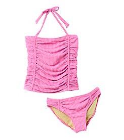 Jessica Simpson Girls' 7-16 Seersucker Tankini Swimsuit