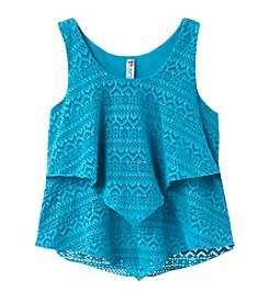 Miss Attitude Girls' 7-16 Tiered Crocheted Lace Racerback Tank