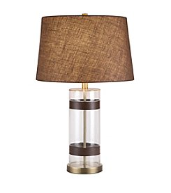 Catalina Lighting Glass and Faux Leather Table Lamp