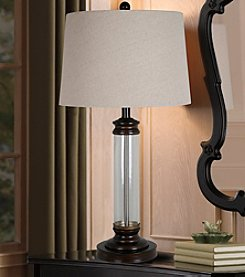Catalina Lighting Antique Metal & Glass Table Lamp with LED Lamp