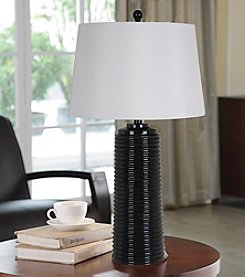 Catalina Lighting Black Wave Table Lamp with LED Bulb
