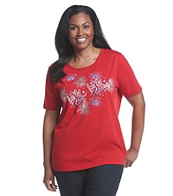 Breckenridge® Plus Size Embellished Crew Neck Tee