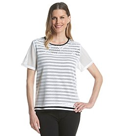 Alfred Dunner® Petites' Weekend Oasis Stripe Mesh Knit Top