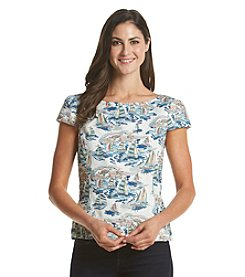 Nine West® Sail Boat Print Top