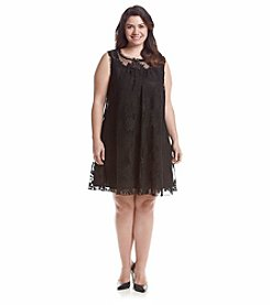 Oneworld® Plus Size Embroidered Lace Dress