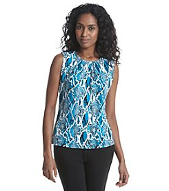 Calvin Klein Petites' Printed Pleated Neck Top