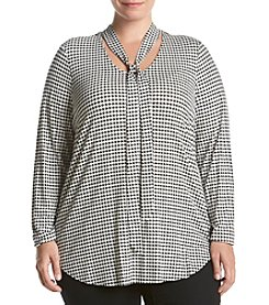 Ruff Hewn GREY Plus Size Houndstooth Print Tie Neck Top