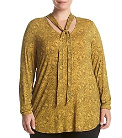 Ruff Hewn GREY Plus Size Linear Paisley Print Tie Neck Top