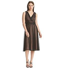 Connected® Sheer Overlay Matte V-Neck Dress