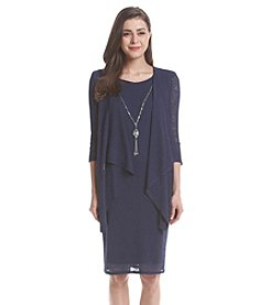 R&M Richards® Petites' Slub Knit Necklace Jacket Dress