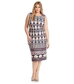 S.L. Fashions Plus Size Midi Scuba Geo Patterned Dress