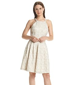Calvin Klein Brocade Fit And Flare Dress