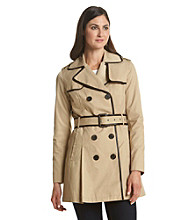 BCBG® Belted Faux Leather Trim Trench Coat