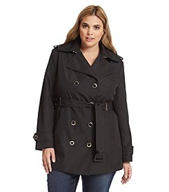 Calvin Klein Plus Size Hardware Belted Trench Coat