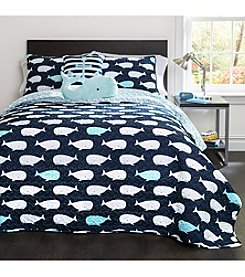 Lush Decor Whale Quilt Navy Set