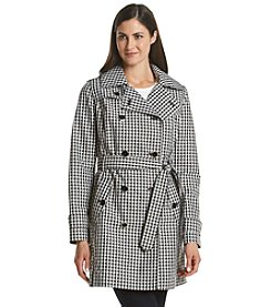London Fog® Gingham Printed Trench Coat