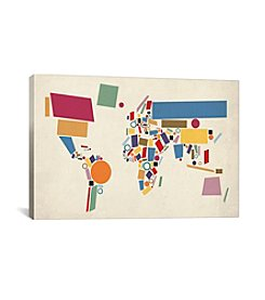 iCanvas Abstract Geometric World Map by Michael Tompsett Canvas Print