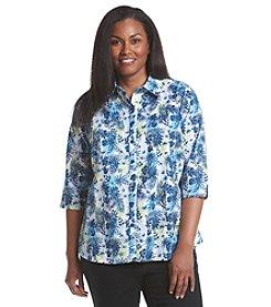 Breckenridge® Plus Size Paradise Island Printed Woven Shirt