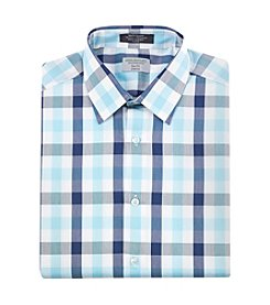 John Bartlett Statements Men's Slim Fit Stretch Large Check Pattern Dress Shirt