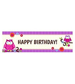 Owl Blossom Happy Birthday Banner