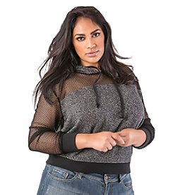 Poetic Justice® Plus Size Anita Black Mesh French Terry Crop