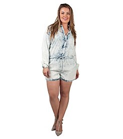 Poetic Justice® Plus Size Mariah Button Front Romper