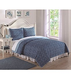 Laura Hart Blue Spacedye Print Quilt Set