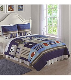 Laura Hart Denim and Khaki Sports Quilt Set