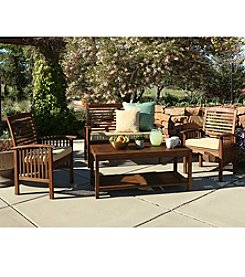 W.Designs 4-Piece Dark Brown Acacia Patio Conversation Set with Cushions