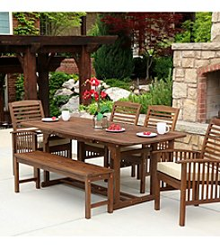 W.Designs 6-Piece Dark Brown Acacia Patio Dining Set with Cushions