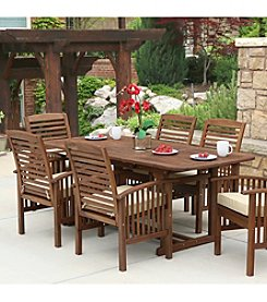 W.Designs 7-Piece Dark Brown Acacia Patio Dining Set with Cushions