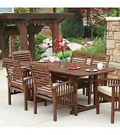 W.Designs 7-Piece Dark Brown Acacia Patio Dining Set with Cushions