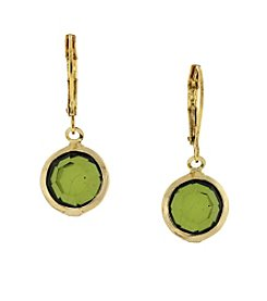 1928® Jewelry Goldtone Green Round Drop Earrings