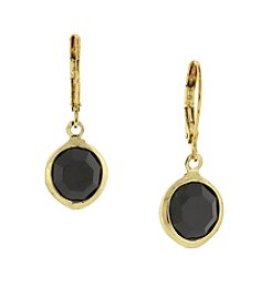 1928® Jewelry Goldtone Black Drop Earrings