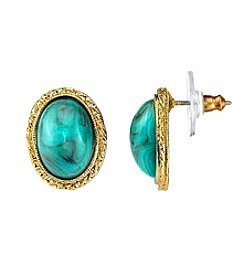 1928® Jewelry Goldtone Imitation Turquoise Oval Button Earrings
