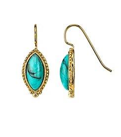1928® Jewelry Goldtone Imitation Turquoise Navette Drop Earrings
