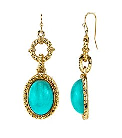 1928® Jewelry Goldtone Imitation Turquoise Oval Drop Earrings