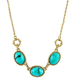 1928® Jewelry Goldtone Imitation Turquoise Oval Collar Necklace 16