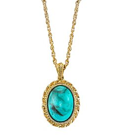 1928® Jewelry Goldtone Imitation Turquoise Oval Pendant Necklace 16