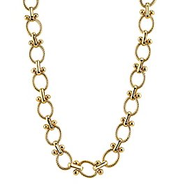 1928® Jewelry Goldtone Textured Oval Link Necklace 16