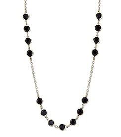 1928® Jewelry Goldtone Black Strand Necklace 42