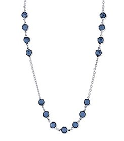 1928® Jewelry Silvertone Blue Strand Necklace 42