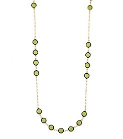1928® Jewelry Goldtone Olivine Green Color Long Strand Necklace 42