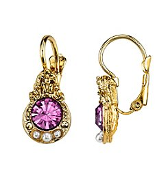 1928® Jewelry Goldtone Light Purple and Simulated Pearl Accent Petite Drop Earrings