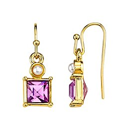 1928® Jewelry Goldtone Light Purple and Simulated Pearl Square Drop Earrings
