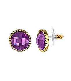 1928® Jewelry Goldtone Purple Round Button Earrings