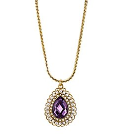 1928® Jewelry Goldtone Purple Stone Simulated Pearl Accent Teardrop Pendant Necklace 16