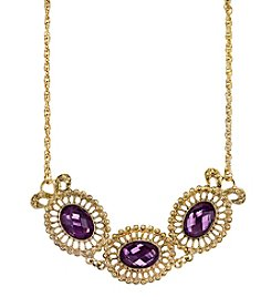 1928® Jewelry Goldtone Purple Filigree Collar Necklace 16