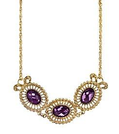 1928® Jewelry Goldtone Purple Filigree Collar Necklace 16