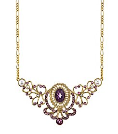 1928® Jewelry Goldtone Purple with Simulated Pearl and Crystal Accents Bib Necklace 16